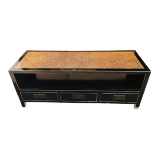 Asian Black Lacquer Low Chest, Tv Stand With Rattan Top For Sale