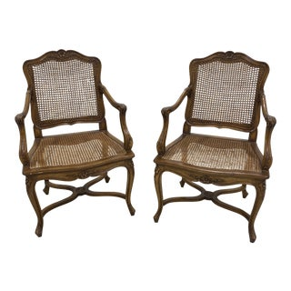 Louis XIV Style Walnut Cane Arm Chairs- A Pair For Sale