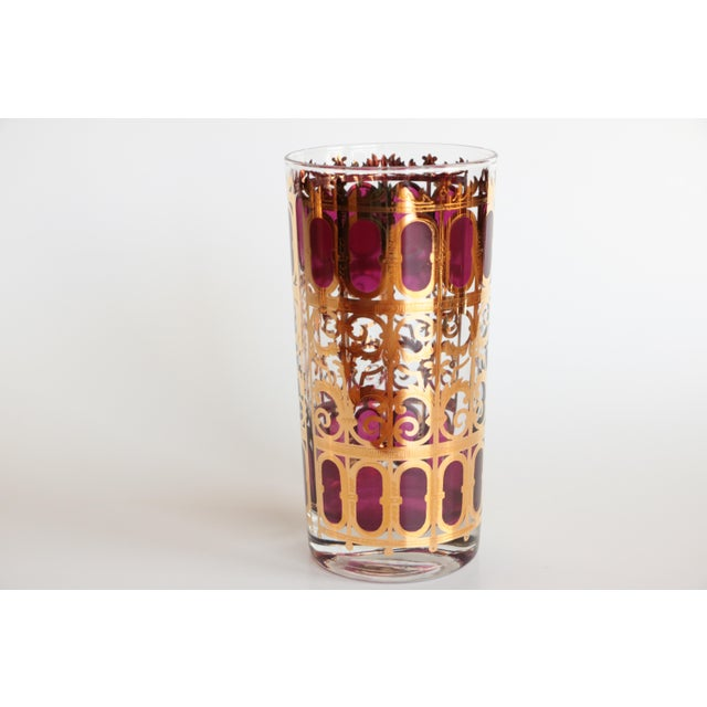 Culver Cranberry Scroll Highball and Lowball Glasses - Set of 12 - Image 6 of 9
