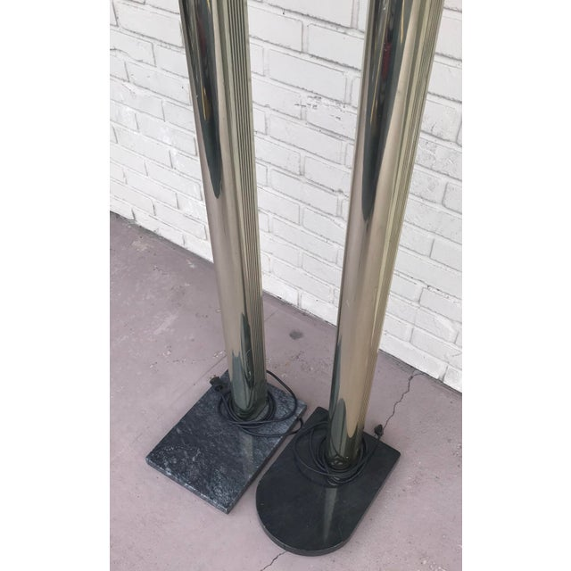 Gold 1970s Mid Century Modern Gold Floor Lamps on Black Marble Bases - a Pair For Sale - Image 8 of 13