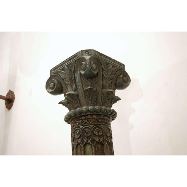 Pair of Carved Wooden Anglo Indian Pillar Columns For Sale In Los Angeles - Image 6 of 8