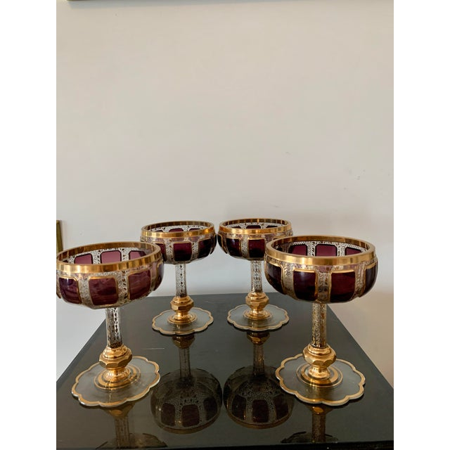 Moser Glassworks 1930s Moser Bohemian Crystal Cabochon Coupes- Set of 4 For Sale - Image 4 of 9