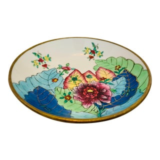 Vintage Mid-Century Chinoiserie Porcelain & Brass Tobacco Leaf Trinket Dish For Sale