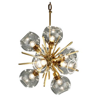 Small Translucid Blown Glass Pendant Lamp For Sale