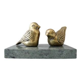 Vintage Brass & Marble Birds Figurine Paperweight Mid Century
