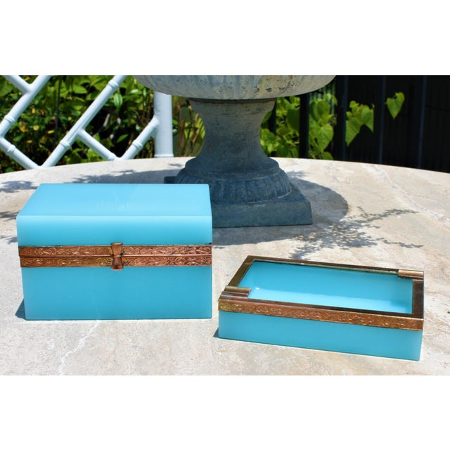 Early 20th Century French Tiffany Blue Opaline Glass Box and Ashtray Set For Sale - Image 13 of 13