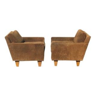 Milo Baughman Modern Parson Suede Chairs- a Pair For Sale