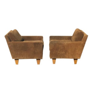Vintage Mid-Century Modern Parson Suede Chairs- a Pair For Sale