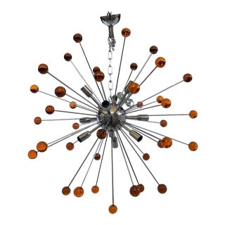Chandelier Murano Glass Triedo Sputnik Orange For Sale