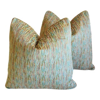 """Clarence House Arles Velvet Fabric Feather/Down Pillows 21"""" Square - Pair For Sale"""