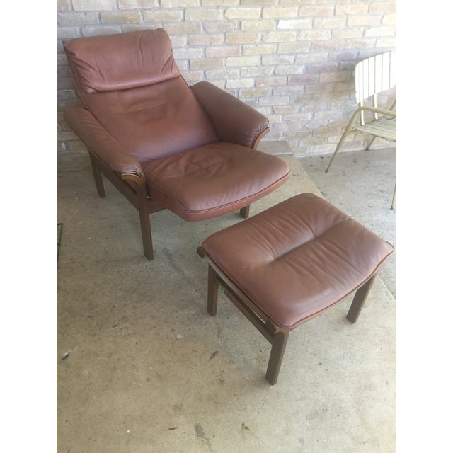 Mid-Century Modern G Mobel Sweden Reclining Lounge Chair & Ottoman For Sale - Image 3 of 11