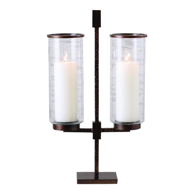 Kenneth Ludwig Chicago Double Candle Hurricane Holder For Sale