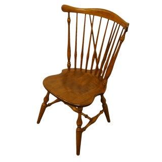 Late 20th Century Ethan Allen Heirloom Nutmeg Maple Fiddleback Duxbury Dining Side Chair For Sale