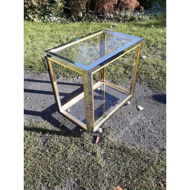 1960's Romeo Rega Brass and Chrome Italian Bar Cart For Sale - Image 9 of 10
