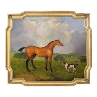 Huge European Horse Oil Painting in Gilded Frame For Sale
