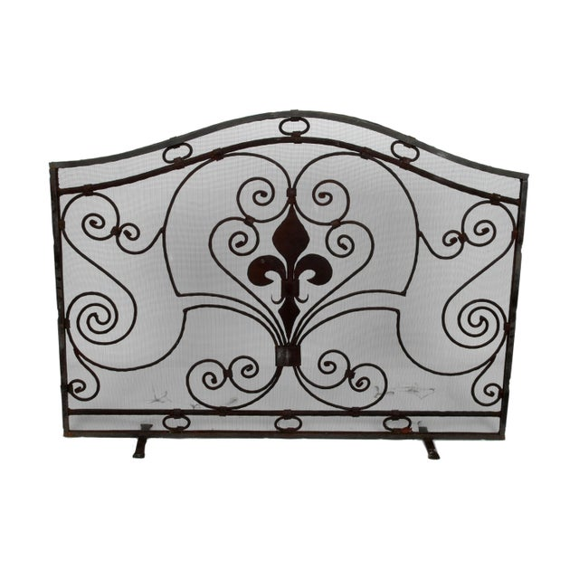 Handmade Wrought Iron Fireplace Screen For Sale - Image 9 of 9