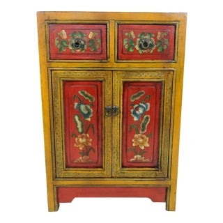 Vintage Anglo Indian Red and Ochre Lotus Flower Cabinet or Cupboard For Sale