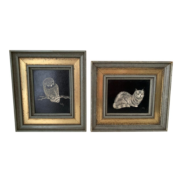 Vintage Framed & Signed Scratch Art - a Pair For Sale