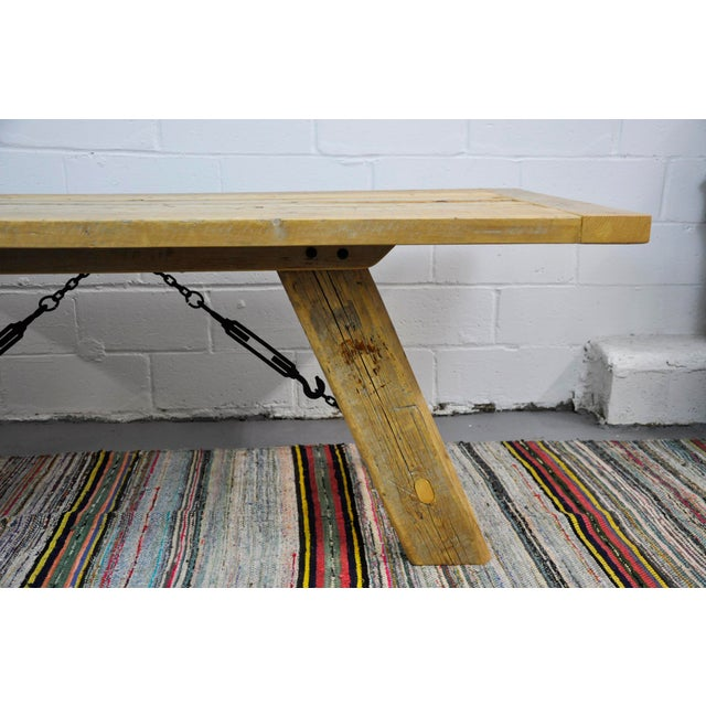 2010s Salvaged Industrial Reclaimed Pine Wood Rustic Dining Table With Metal Elements For Sale - Image 5 of 13