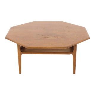 1960s Mid Century Modern Octagonal Walnut Coffee Table For Sale