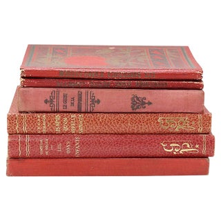 Antique French Decorative Red Books - Set of 6