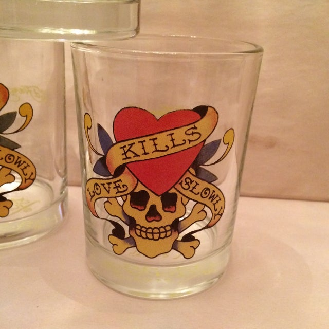 """Ed Hardy """"Love Kills Slowly"""" Lo-Ball Glasses - Set of 4 For Sale - Image 9 of 11"""