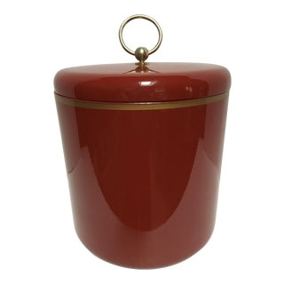 Vintage Red Lacquerware Ice Bucket