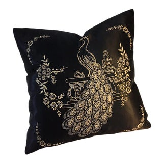 1920s Black Satin Peacock Embroidered Pillow For Sale