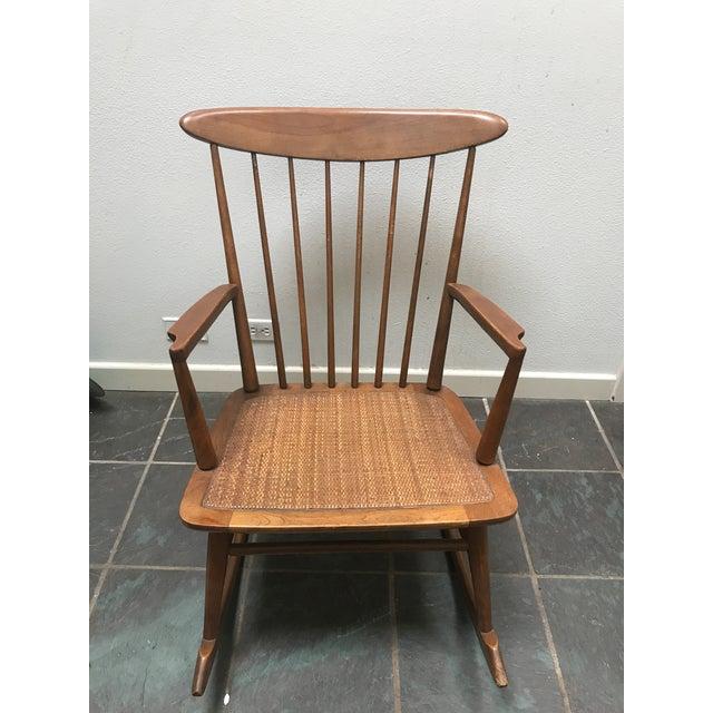 Mid Century Danish Modern Vintage Walnut Rocking Chair For Sale - Image 4 of 8