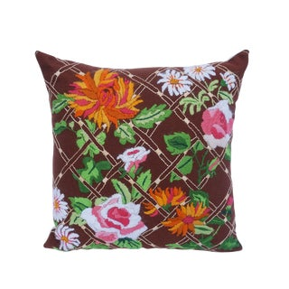 Vintage Boho CHic Psychedelic Floral Crewel Work Throw Pillow For Sale
