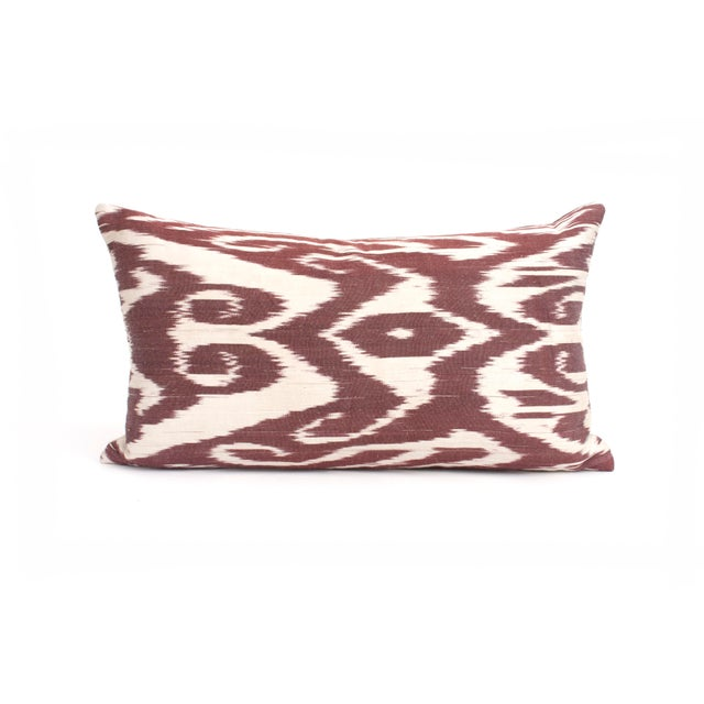 Shabby Chic Silk Ikat Kidney Pillow For Sale - Image 3 of 3