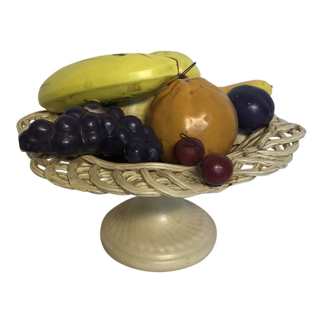 1980s Traditional Italian Porcelain Fruit Topiary/Basket For Sale