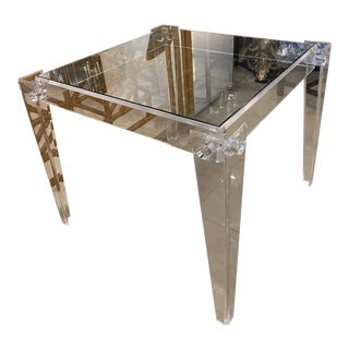 Vintage Square Lucite Peg Tapered Legs Glass Top Dining Game Table For Sale