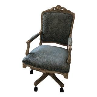 Modern French Velvet Upholstery Desk Chair For Sale
