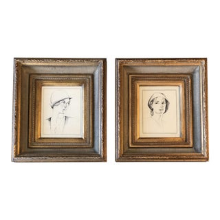 Gallery Wall Collection 2 Original 1930's Deco Pen & Ink Female Portraits Ornate Frames For Sale