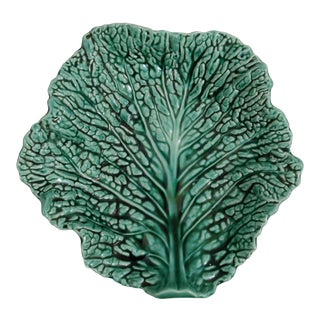 Vintage Sarreguemines French Majolica Cabbage Dish For Sale