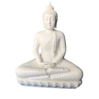 "Lg Blanc De Chine Meditating Buddha 16.25"" H"