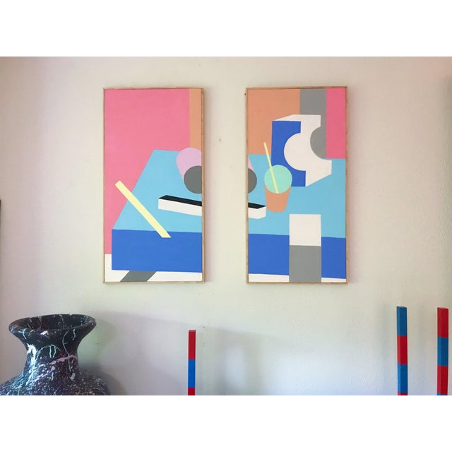 Pair of acrylic on stretched canvas paintings presented in simple wood frames. This set by contemporary artist Jonathan...