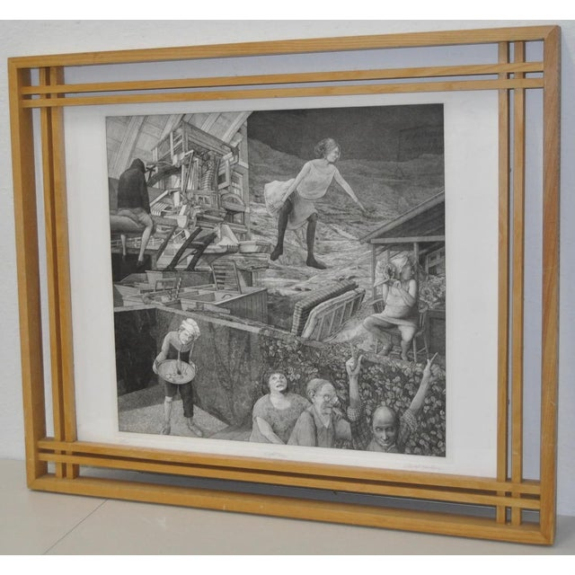 David Becker Pencil Signed Etching C.1970s For Sale - Image 4 of 11