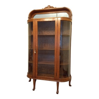 Early 20th Century Antique Oak Bow Front Curved Glass China Cabinet For Sale