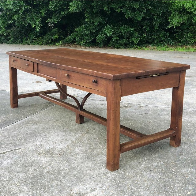 Cherry Wood 9th Century French Cherrywood Farm Table With Pair Benches For Sale - Image 7 of 13