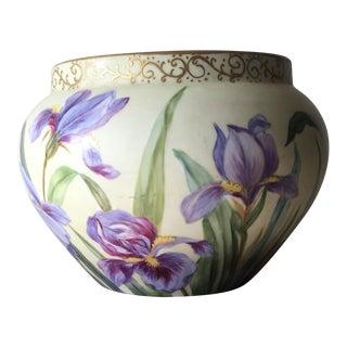 Delinieres & Co. Limoges Porcelain Irises Jardiniere
