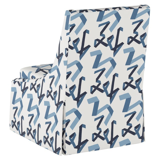 Angela Chrusciaki Blehm Skirted Accent Chair in Navy Ribbon by Angela Chrusciaki Blehm for Chairish For Sale - Image 4 of 7