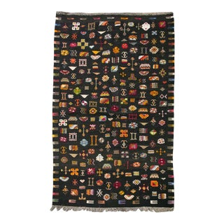 """Flat-Woven Black Moroccan Rug With Colorful Embroidered Berber Symbols 6'5 X 3'10"""" For Sale"""
