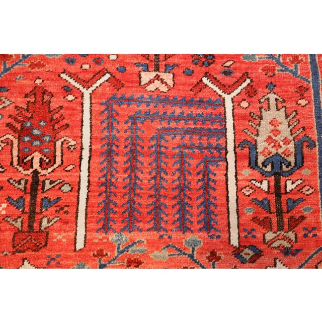 Textile Antique Heriz Persian Rusty Red Background Rug - 9′7″ × 11′7″ For Sale - Image 7 of 11