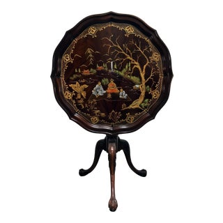 Mahogany Tilt Top Pie Crust Table W Ball in Claw Feet & Custom Handpainted Chinoiserie