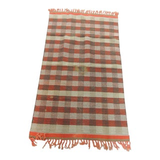 Orange and Green Woven Rug For Sale