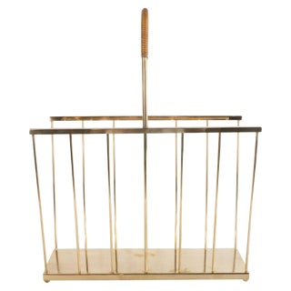 Mid-Century Modern Brass and Wrapped Rattan Magazine Stand by Maxwell Phillips For Sale