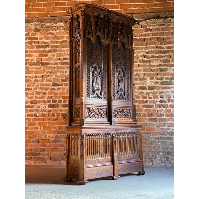 Mid 19th Century Gothic Revival Oak Cupboard Heavily Carved, circa 1850 For Sale - Image 5 of 13