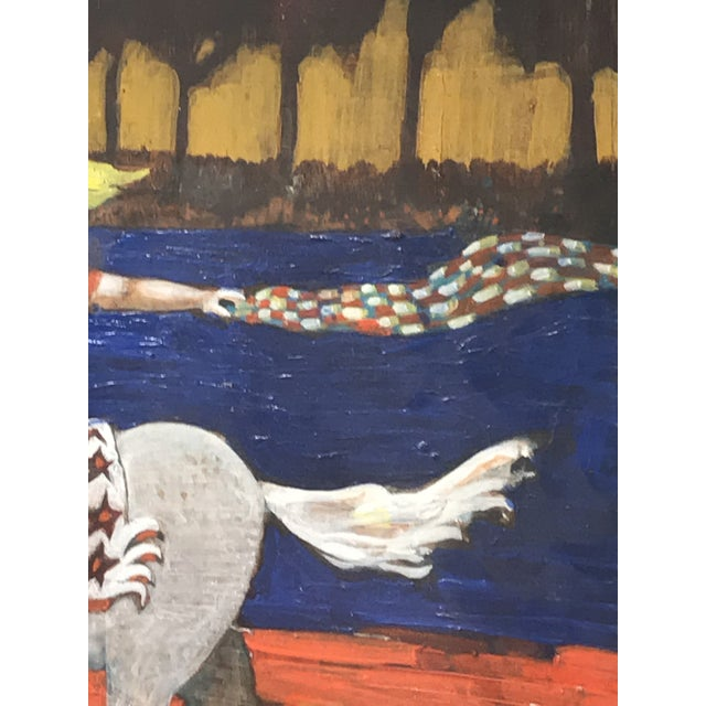 1980s Folk Art Style Figurative Unicorn Painting on Board by Ted Bredt For Sale In San Francisco - Image 6 of 10